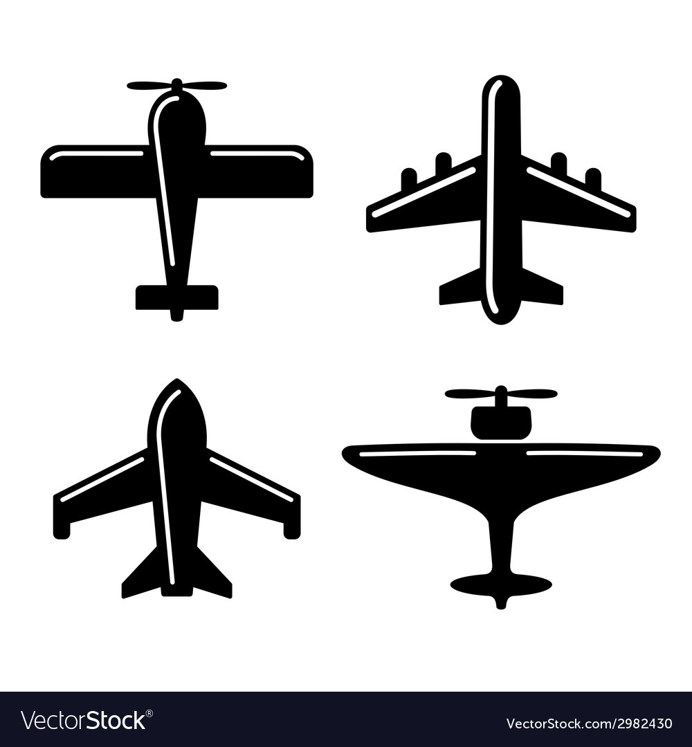 Different airplane icons set