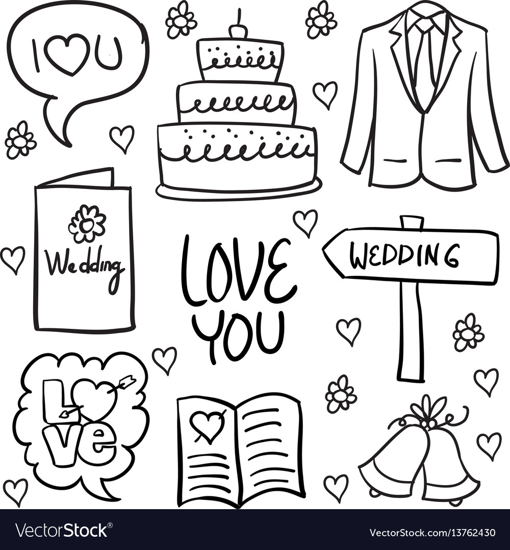 Doodle of wedding various element hand draw vector image