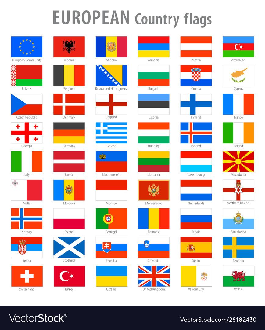 European national flags set