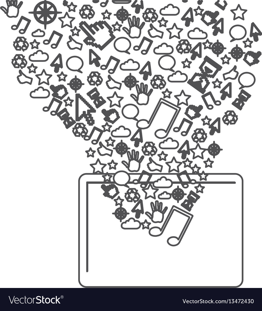 Grayscale contour with tablet and internet icons
