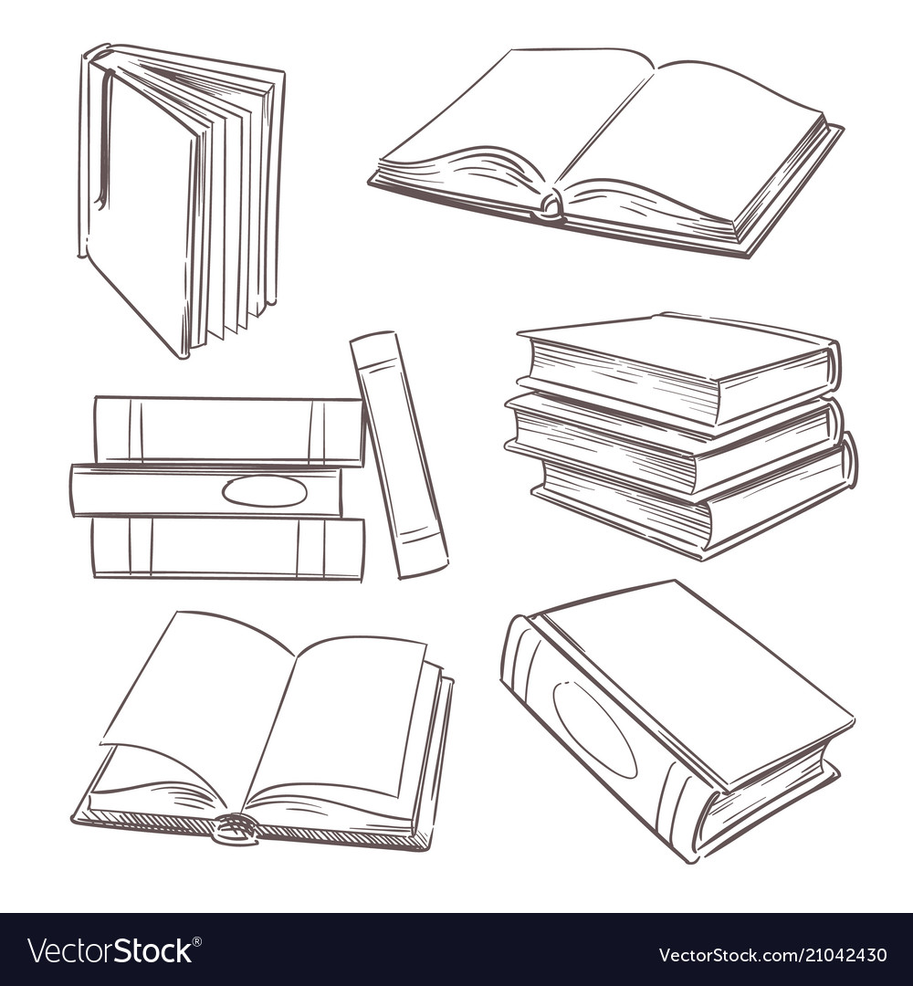 Hand drawn books paper magazine and school vector image