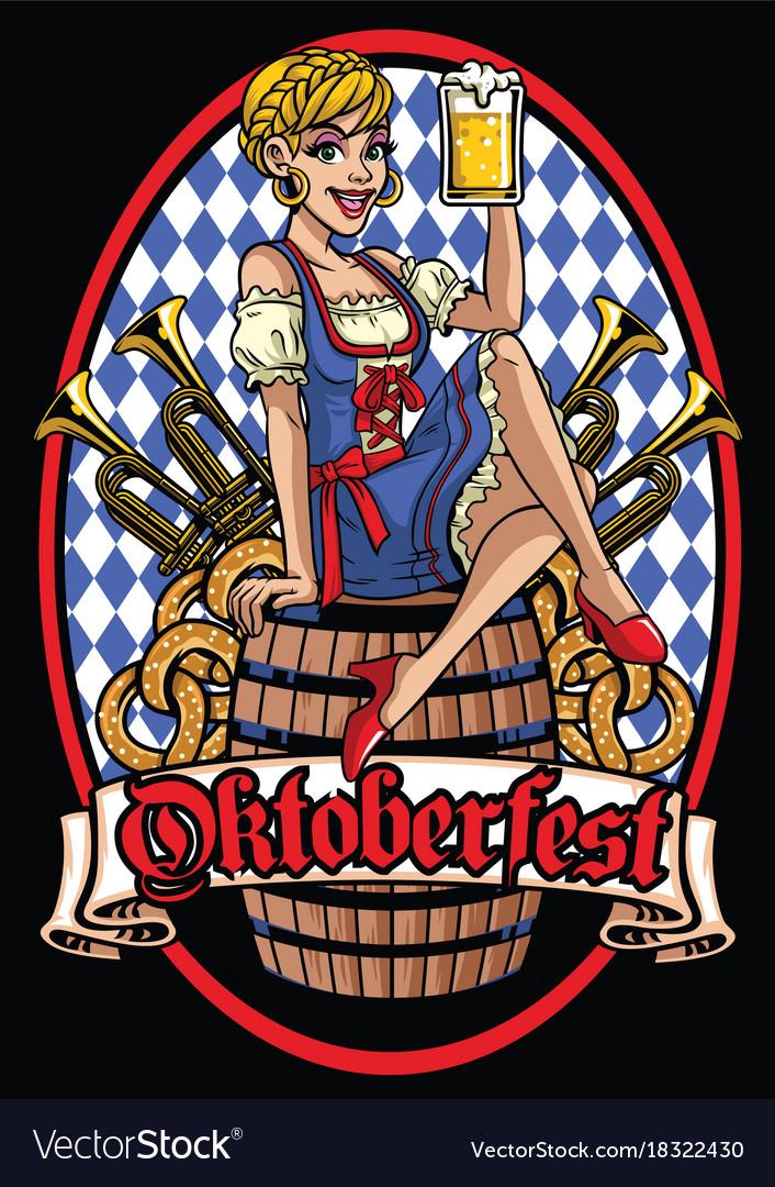 Happy girl of oktoberfest sitting on the beer