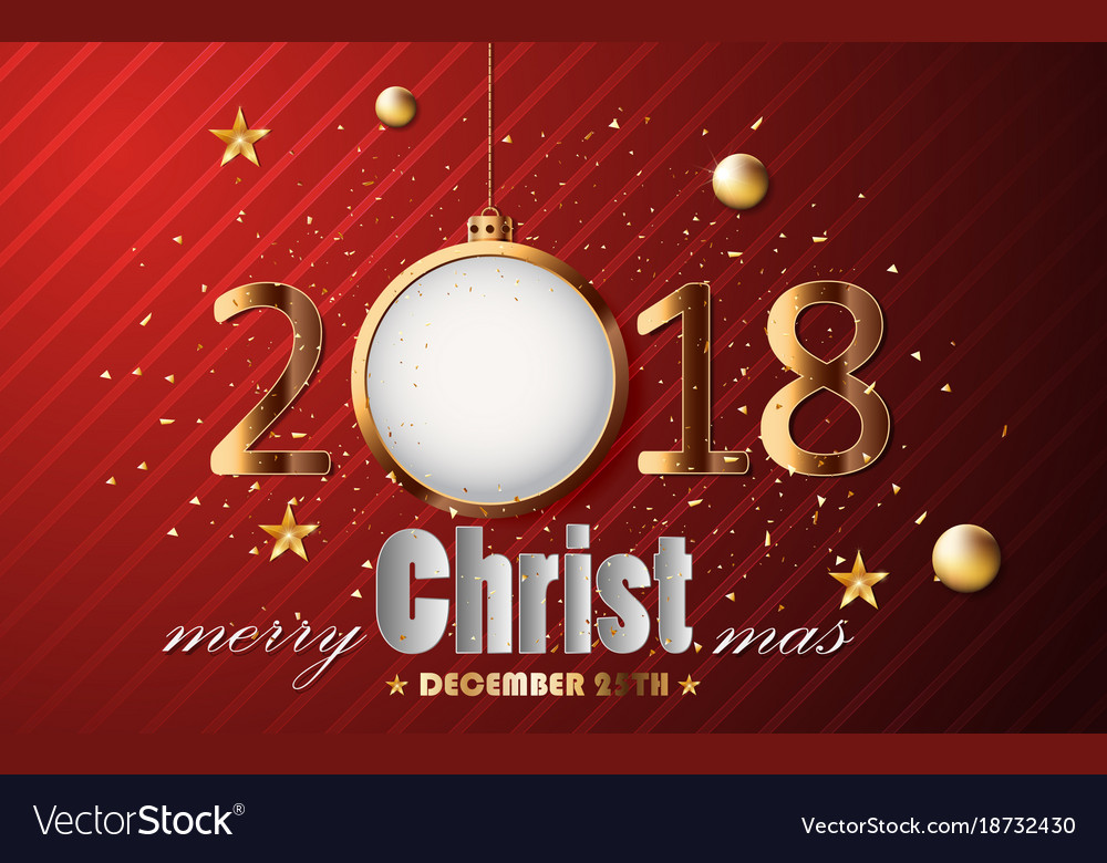 Happy new year and merry christmas gold with card