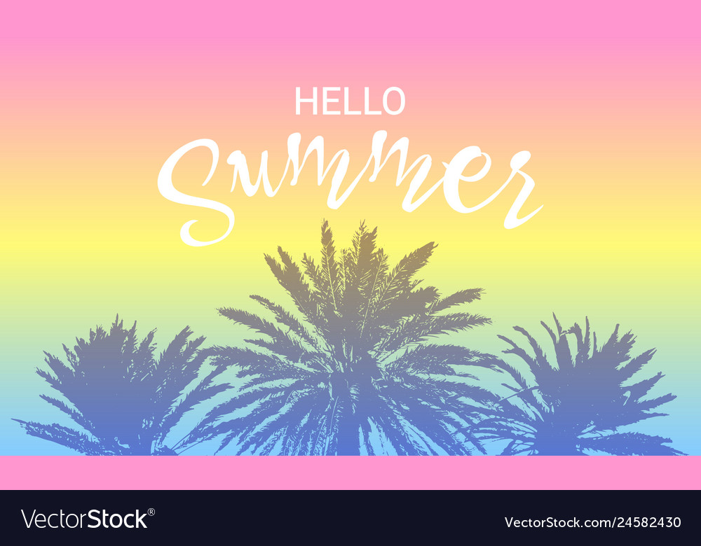 Hello summer message brush palm trees card