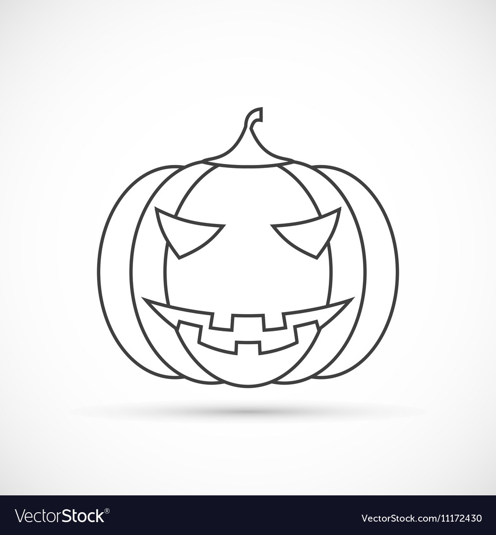 Helloween Pumpkin Outline Icon Royalty Free Vector Image