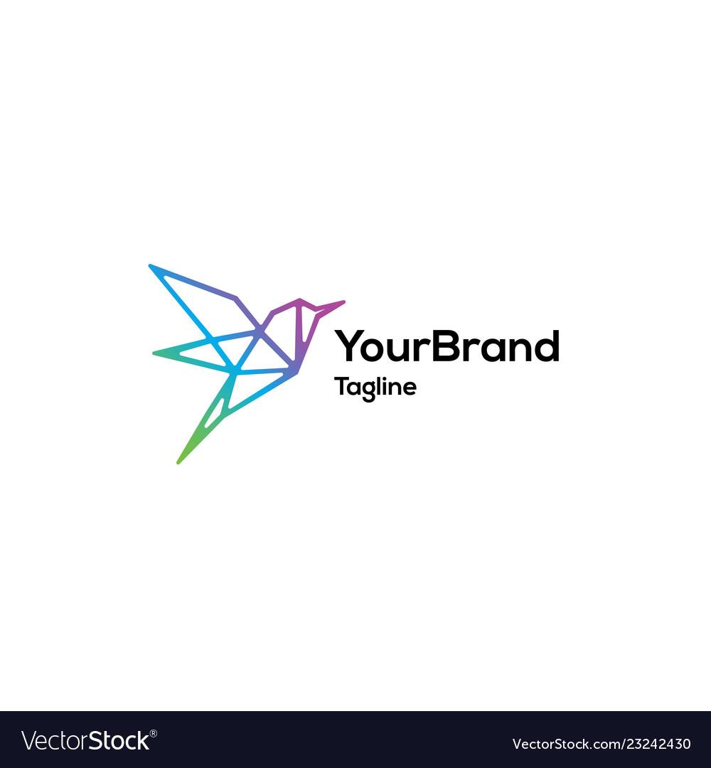 Modern colorful mono line bird logo template