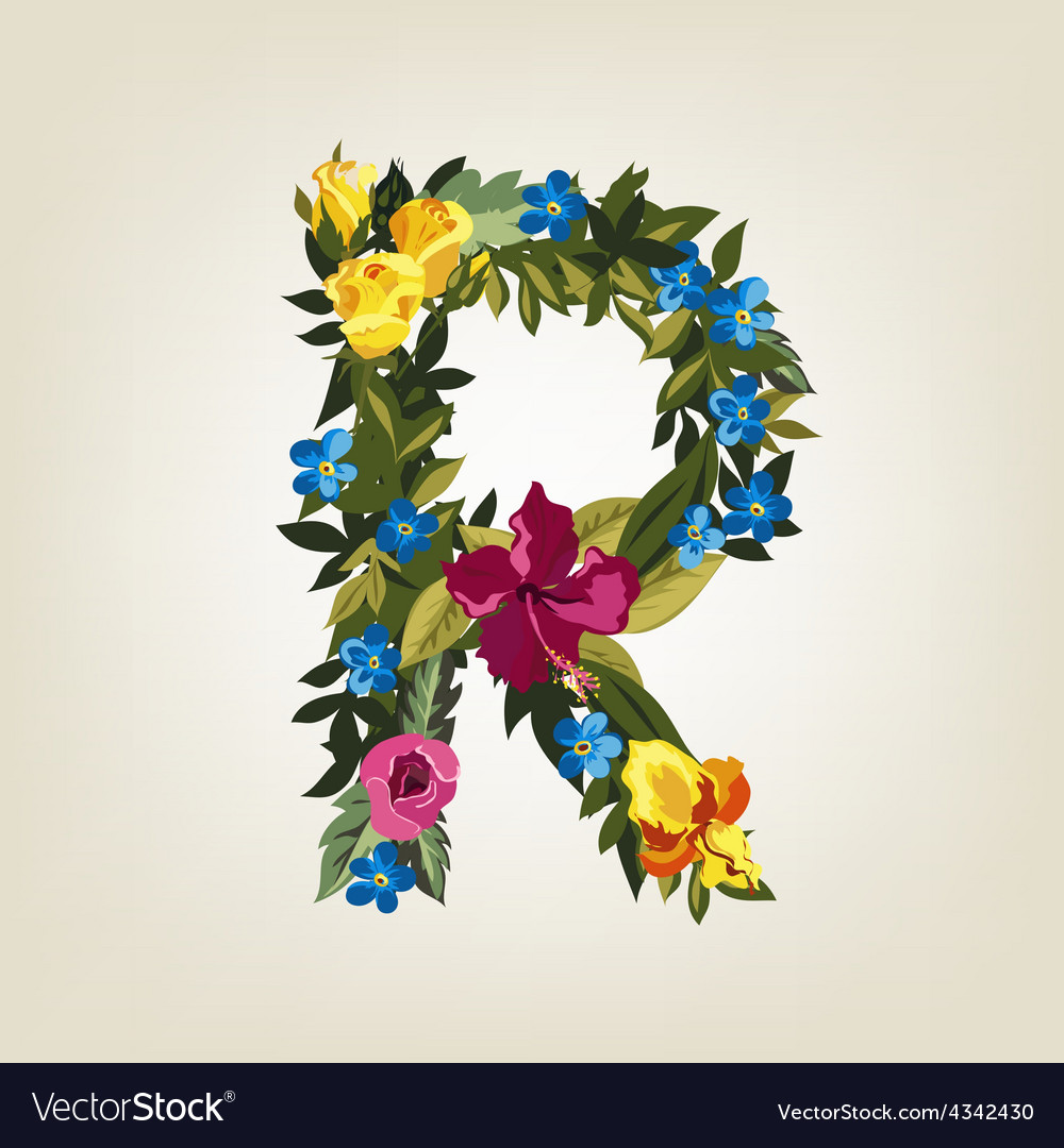 R letter flower capital alphabet colorful font vector image altavistaventures Choice Image
