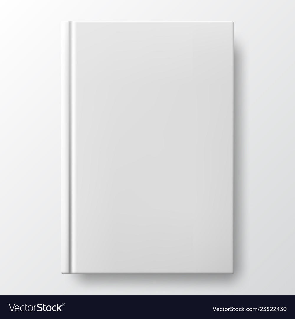Realistic white book with a blank cover
