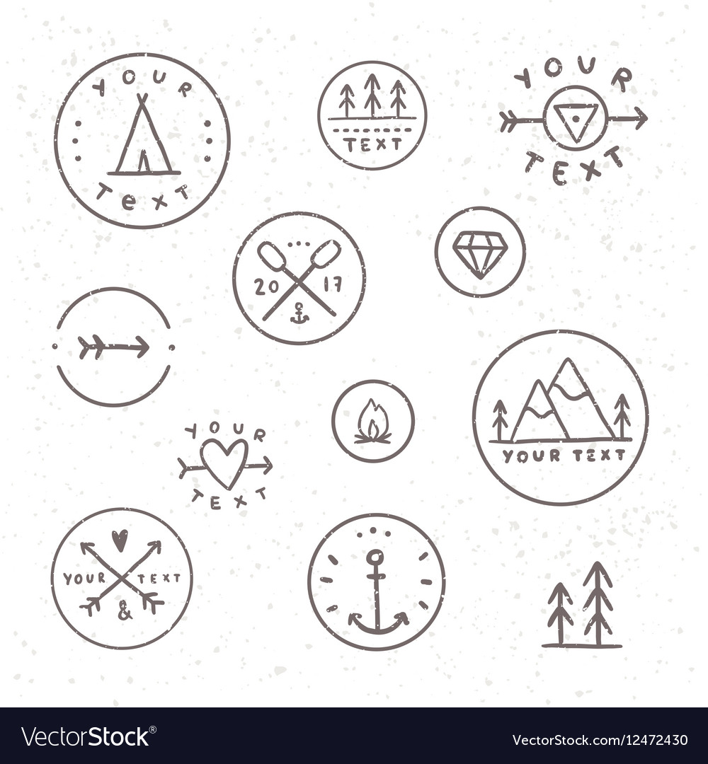Set of hand drawn badges Outdoor camping tribe