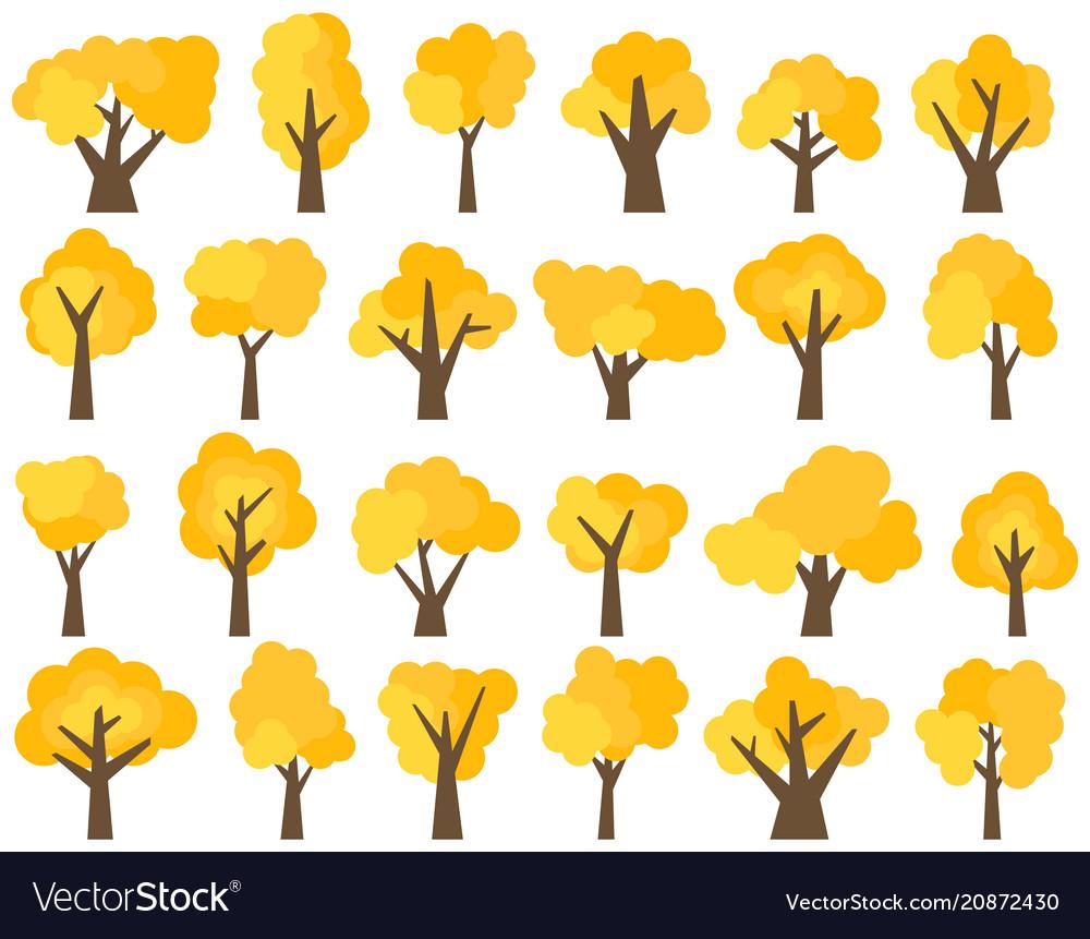 Set of twenty four different cartoon yellow trees