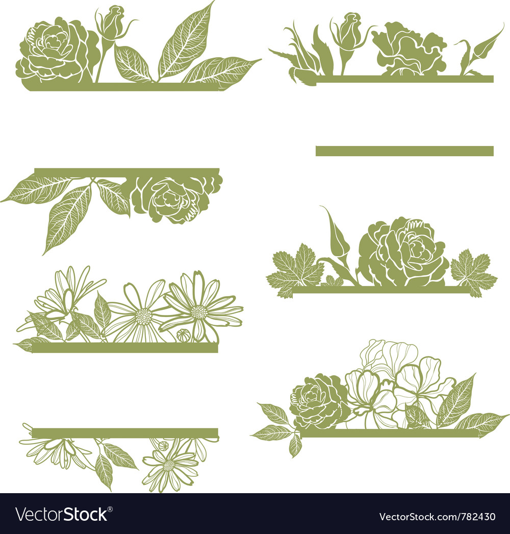 Set of vintage frames with flowers Royalty Free Vector Image