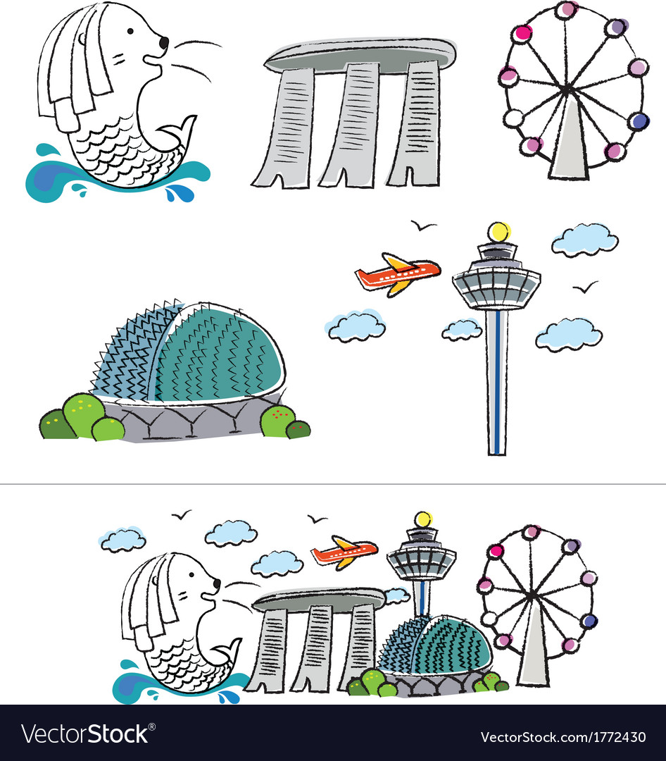 Singapore city skyline cartoon