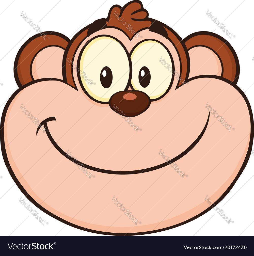 Smiling Monkey Face Cartoon Character Royalty Free Vector
