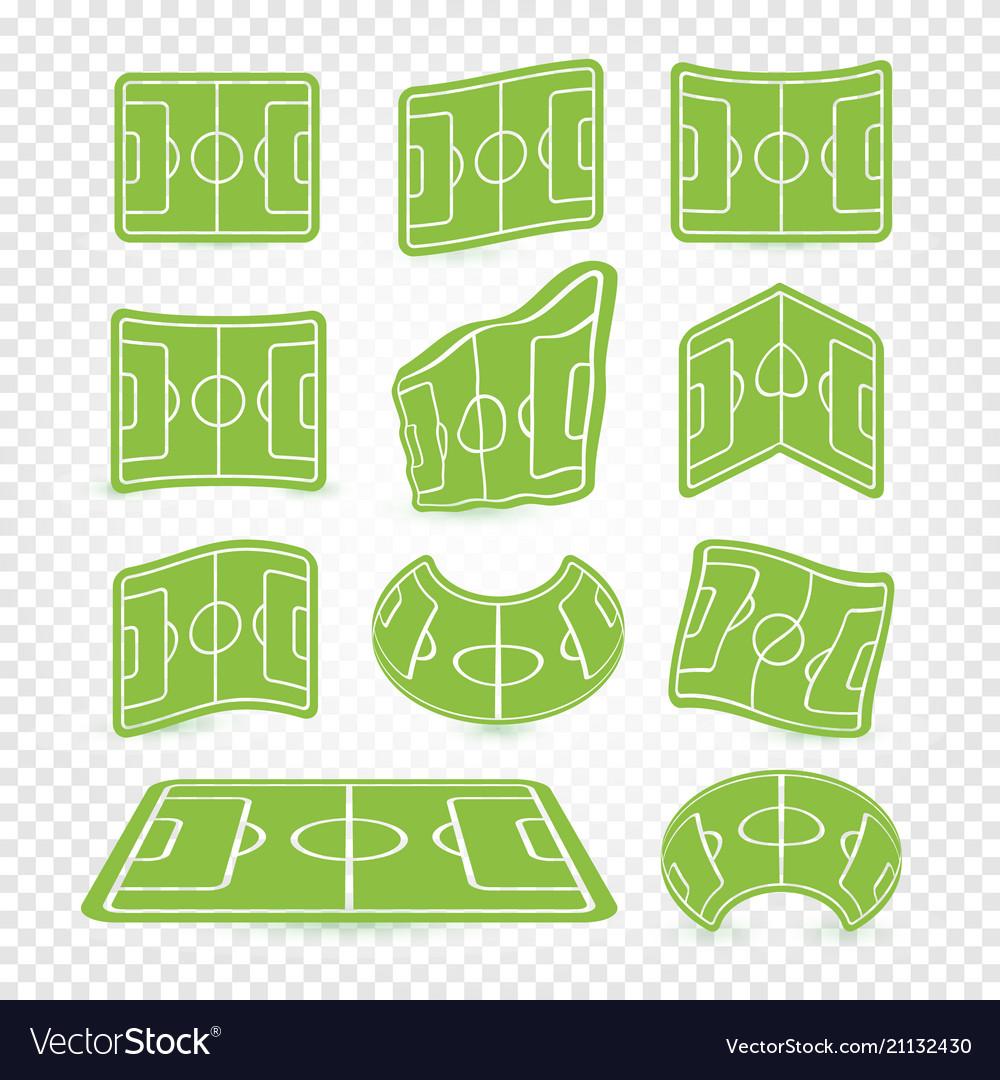 Soccer field marking logos set empty stadium