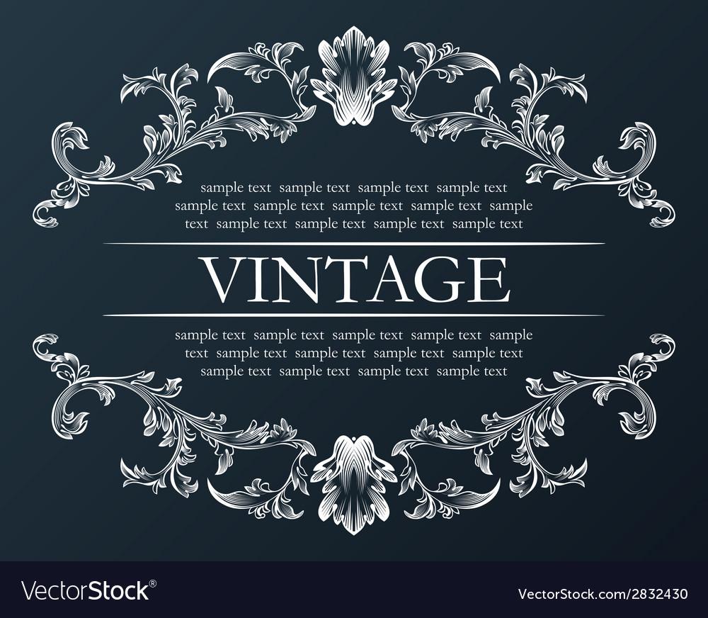 Vintage frame Royal retro ornament decor black