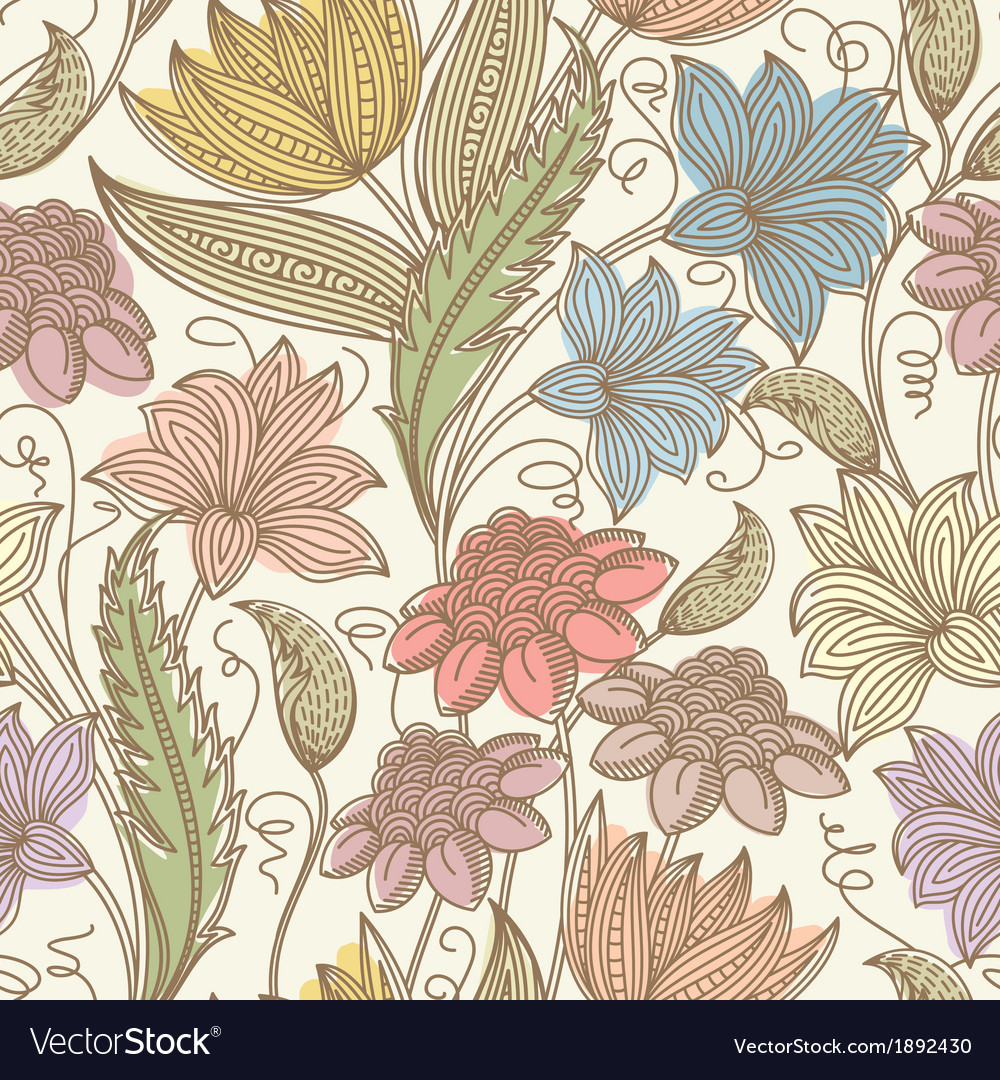 Vintage Seamless Floral Background Royalty Free Vector Image