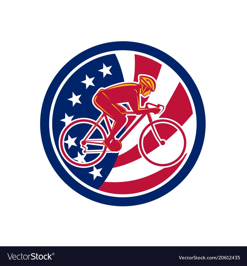 American cyclist cycling usa flag icon vector image