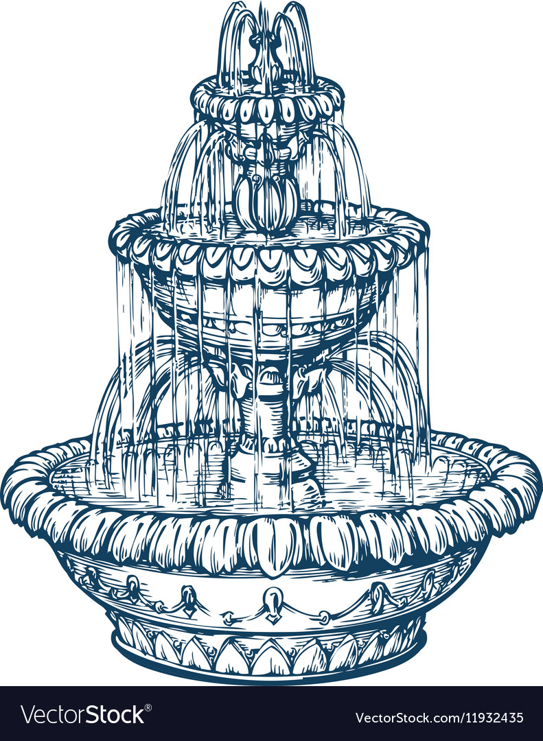 Beautiful outdoor marble fountain Sketch vintage