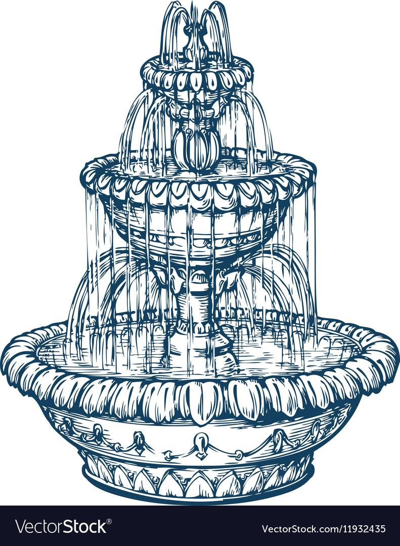 Beautiful outdoor marble fountain Sketch vintage vector image
