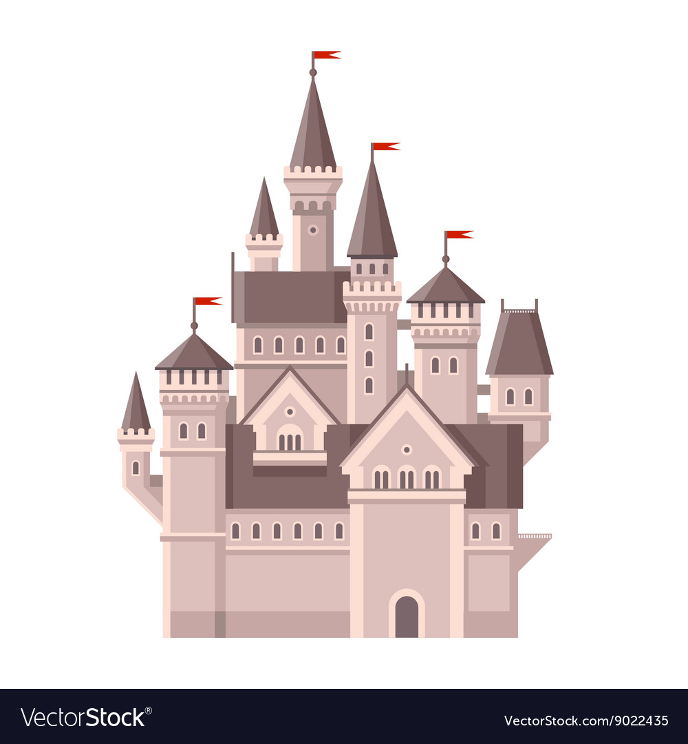 Castle Magic Fairy Tale Building with Red Flags