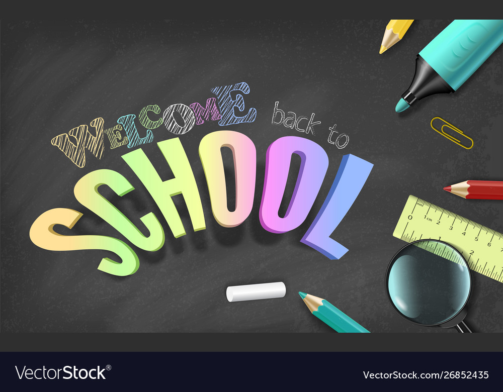 Chalkboard school realistic concept for colorful
