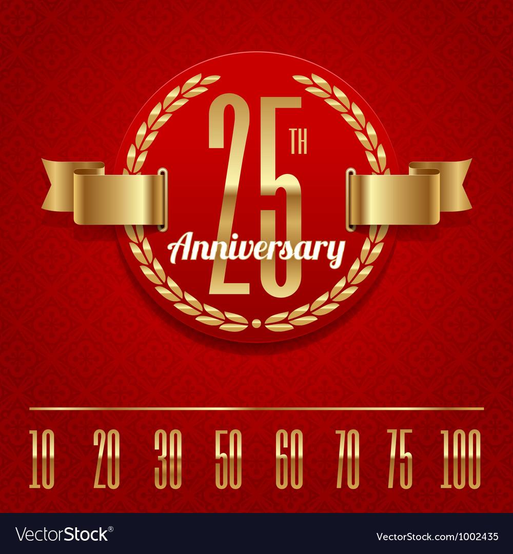 Decorative anniversary golden emblem