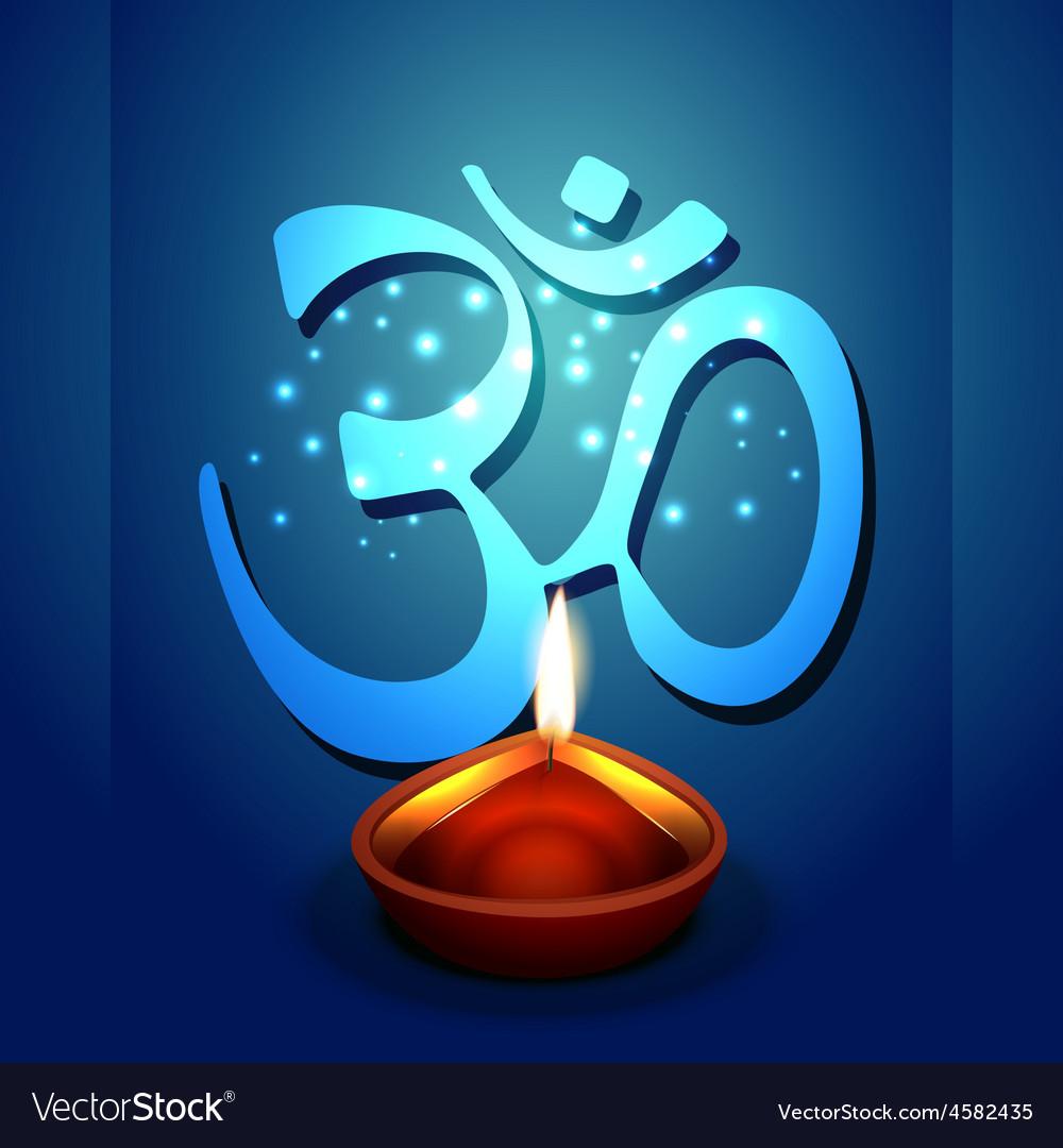 Diwali diya with om symbol Royalty Free Vector Image
