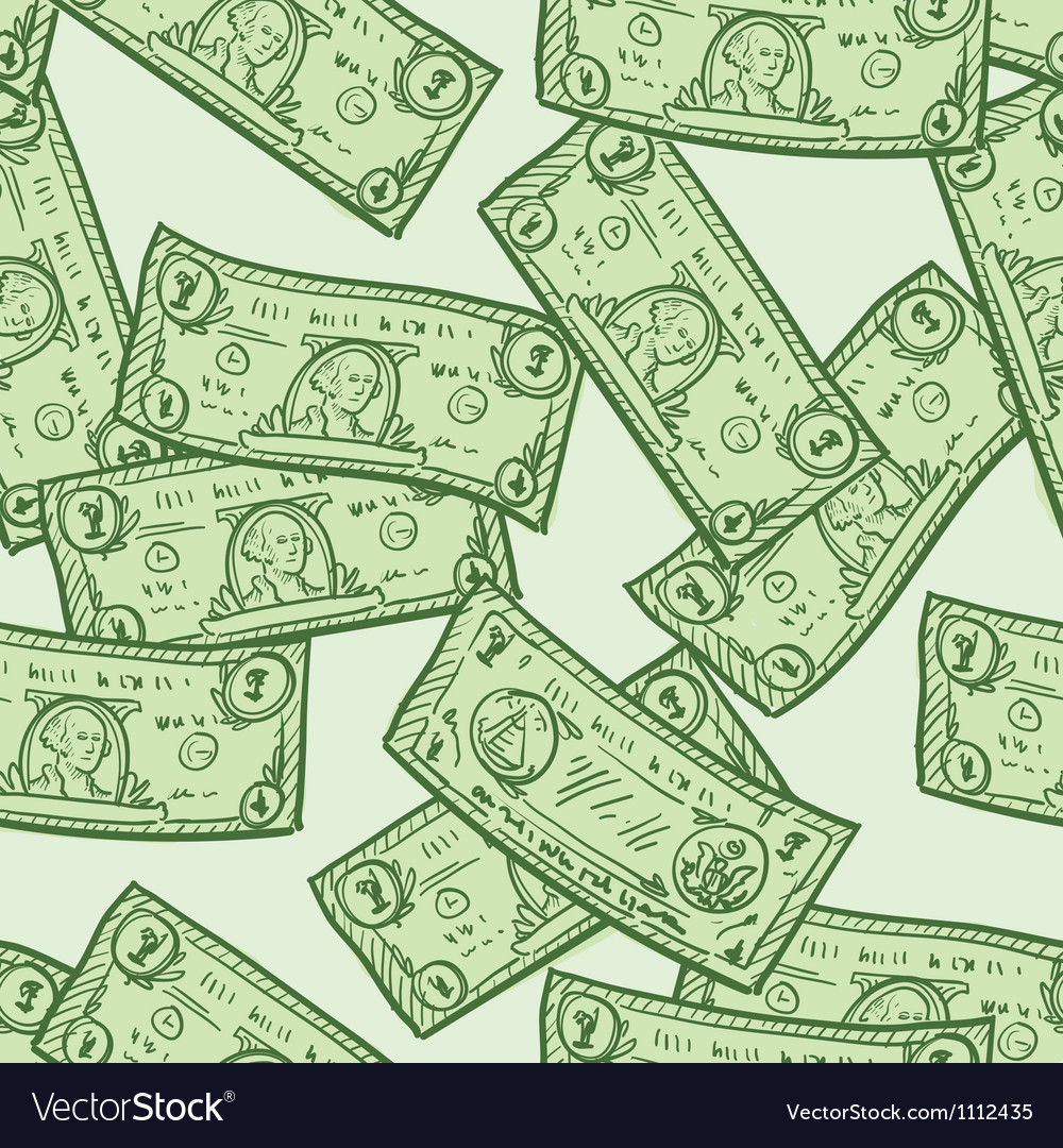 Doodle money pattern seamless
