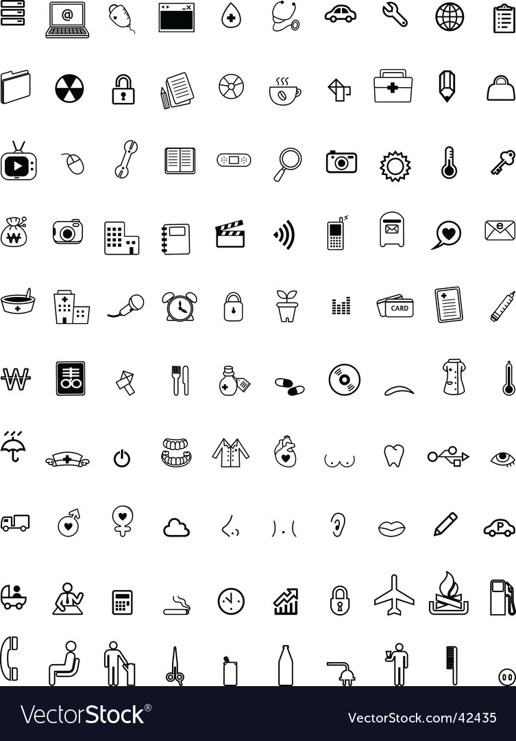 Hundred computer icons vector image