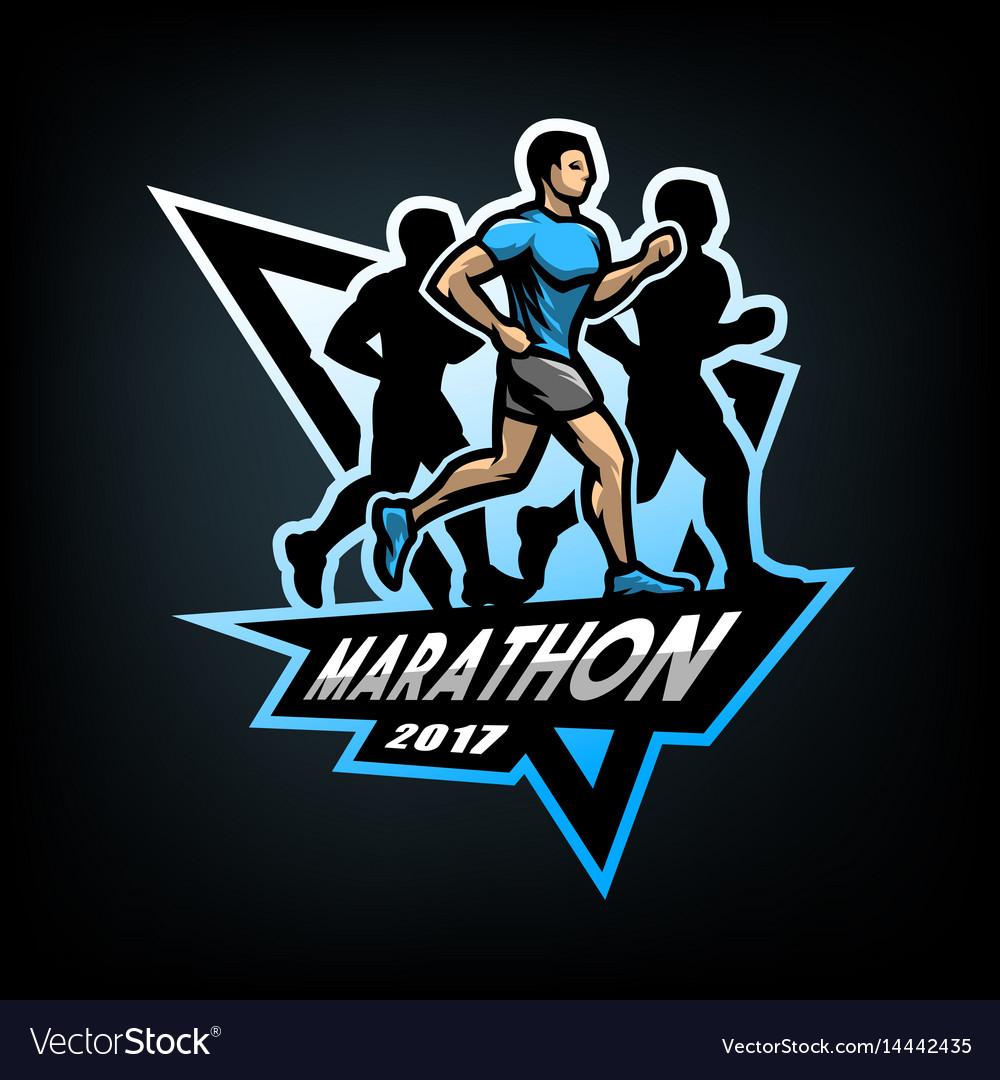 Running marathon emblem vector image