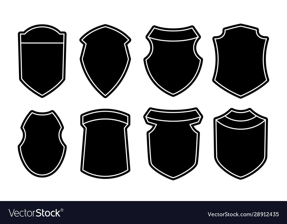 Set blank empty dark shields black badge