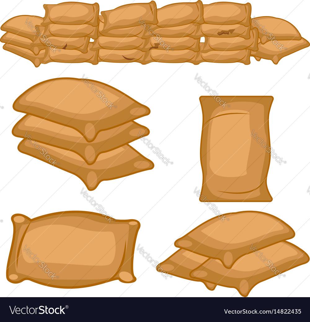 Set of full farmers sack cartoon vector image