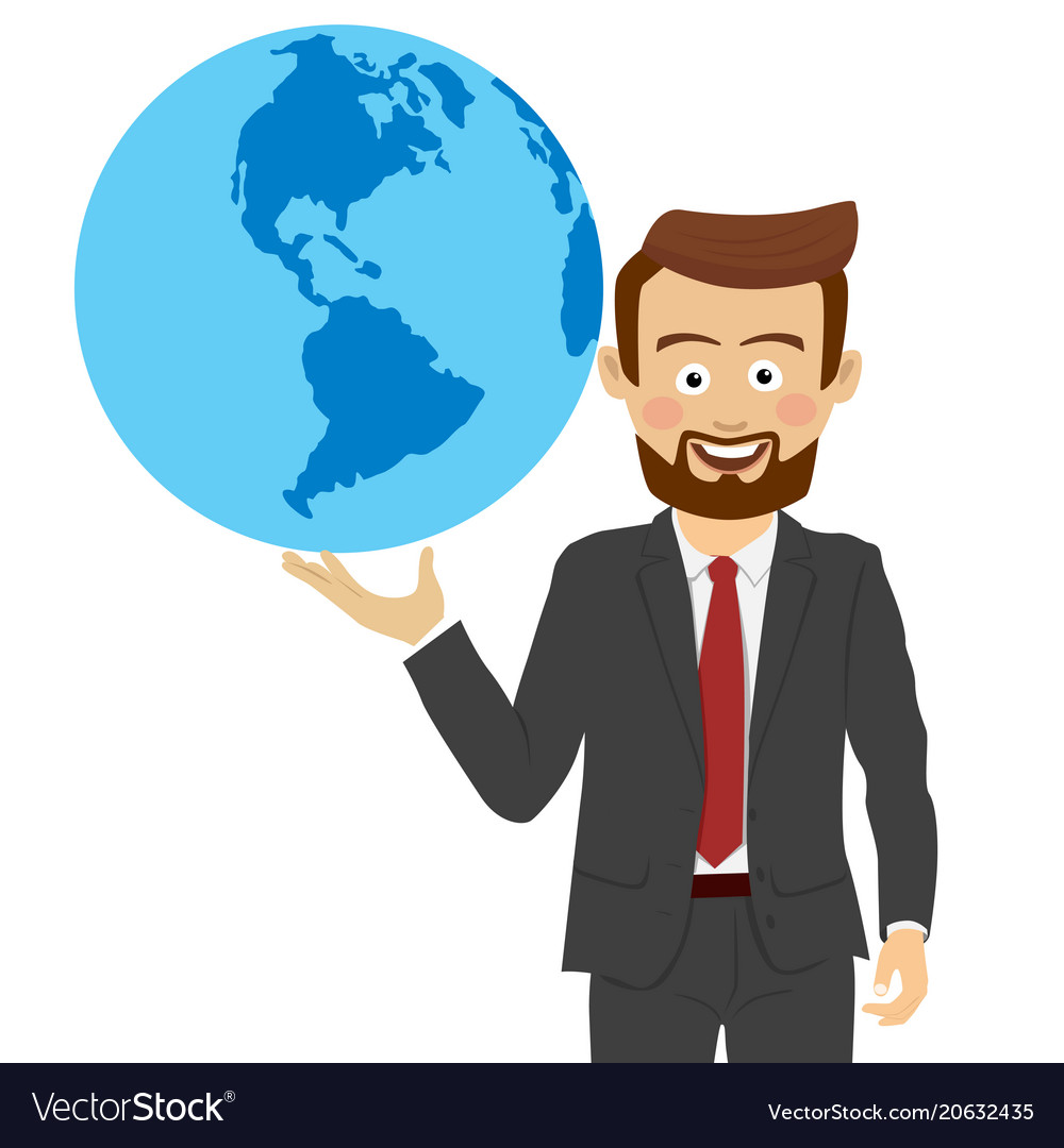 Young businessman holding the planet in his hand