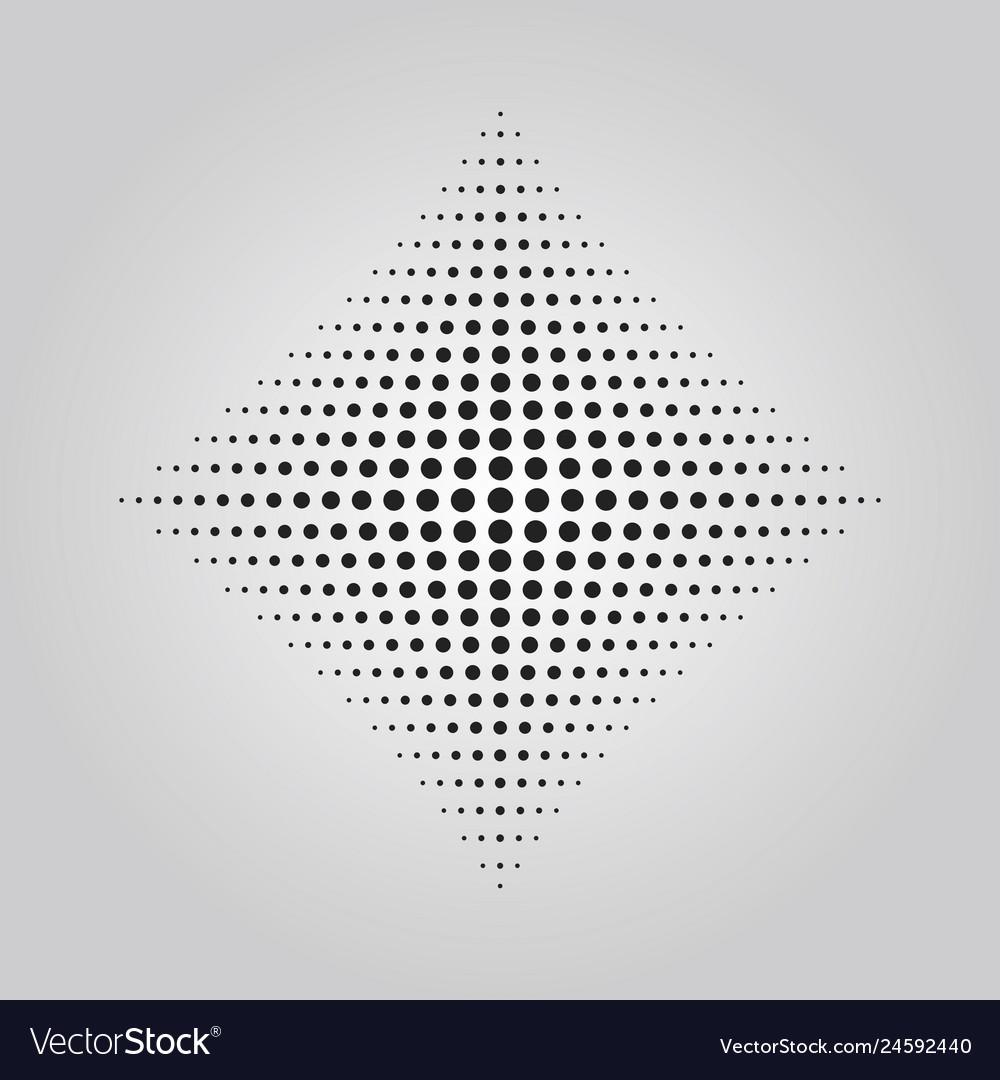 Abstract black rhumbus dots halftone effect