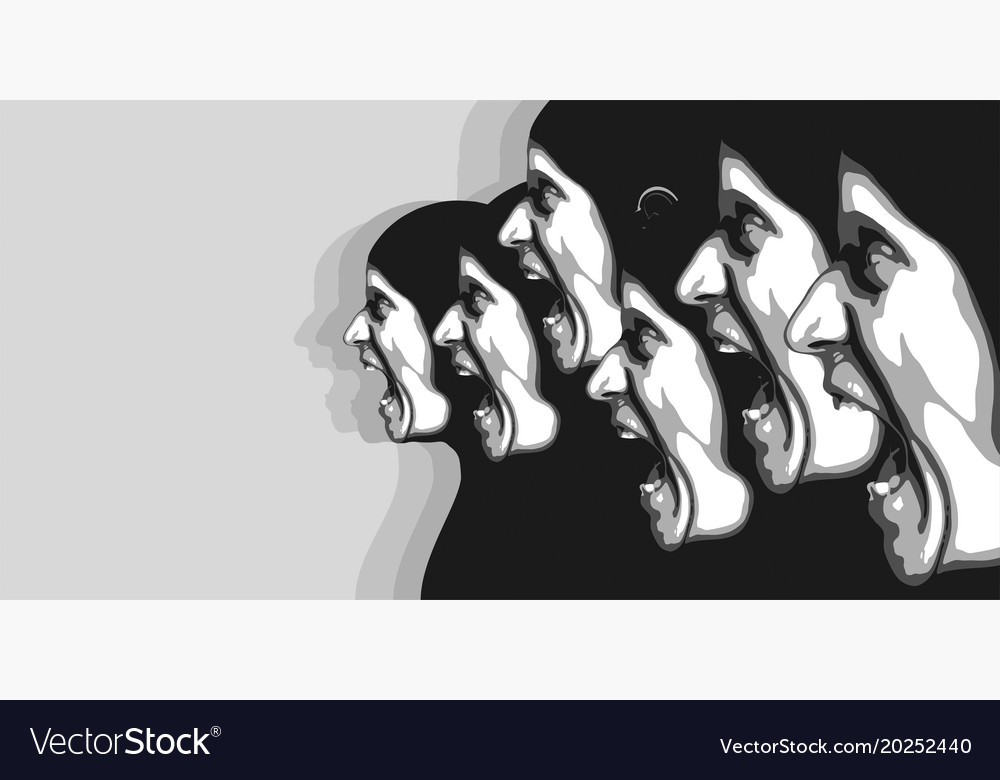 Abstract image of the arngry people