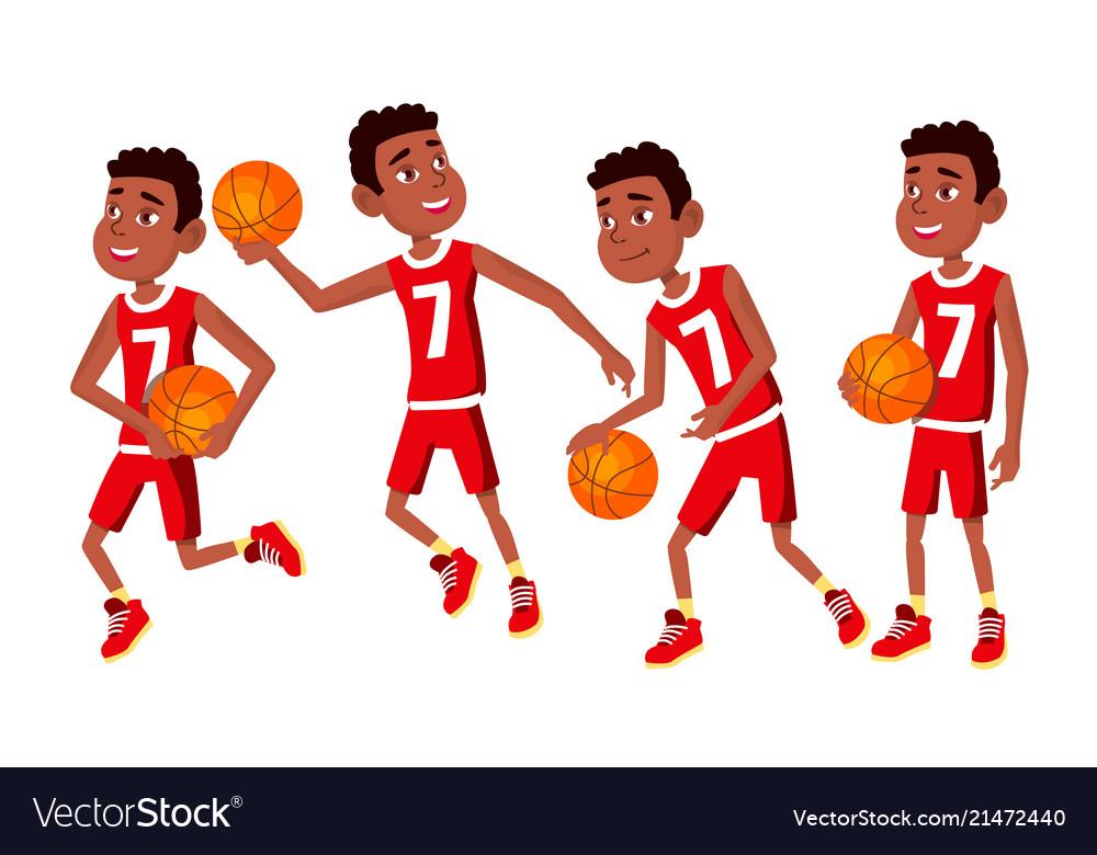 Basketball player child set various poses
