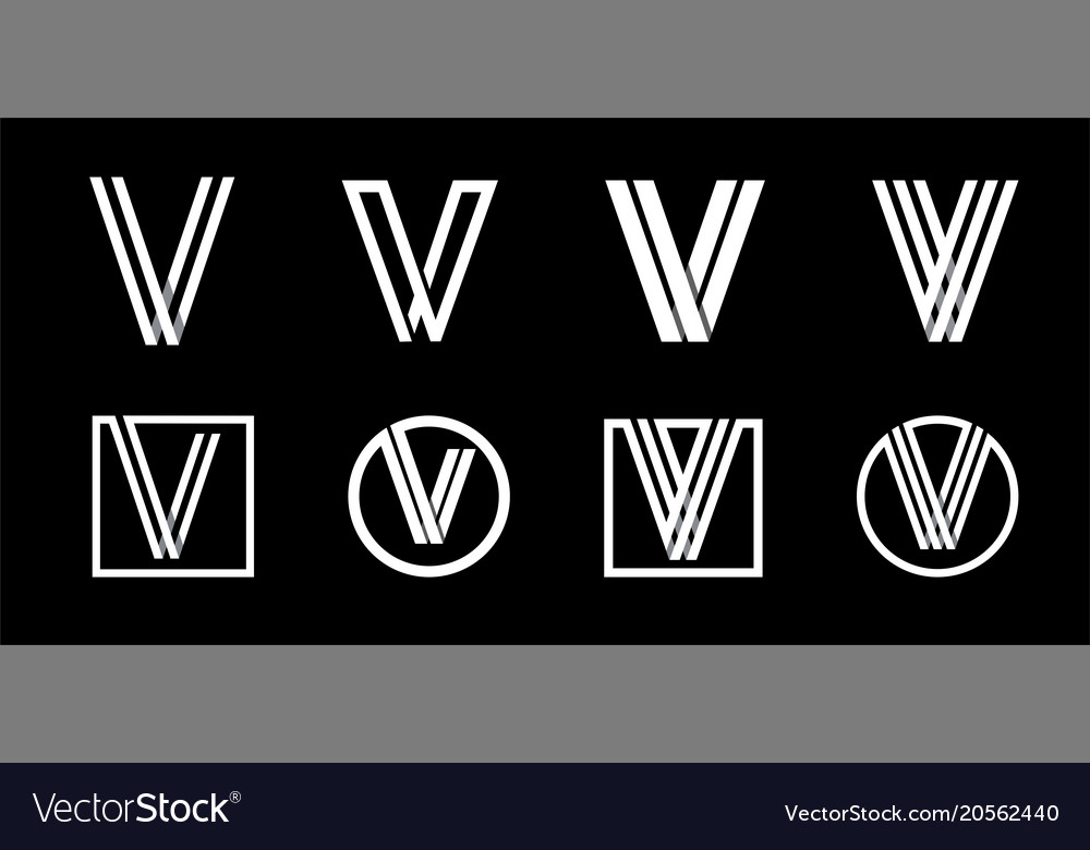 Capital letter v modern set for monograms logos vector image