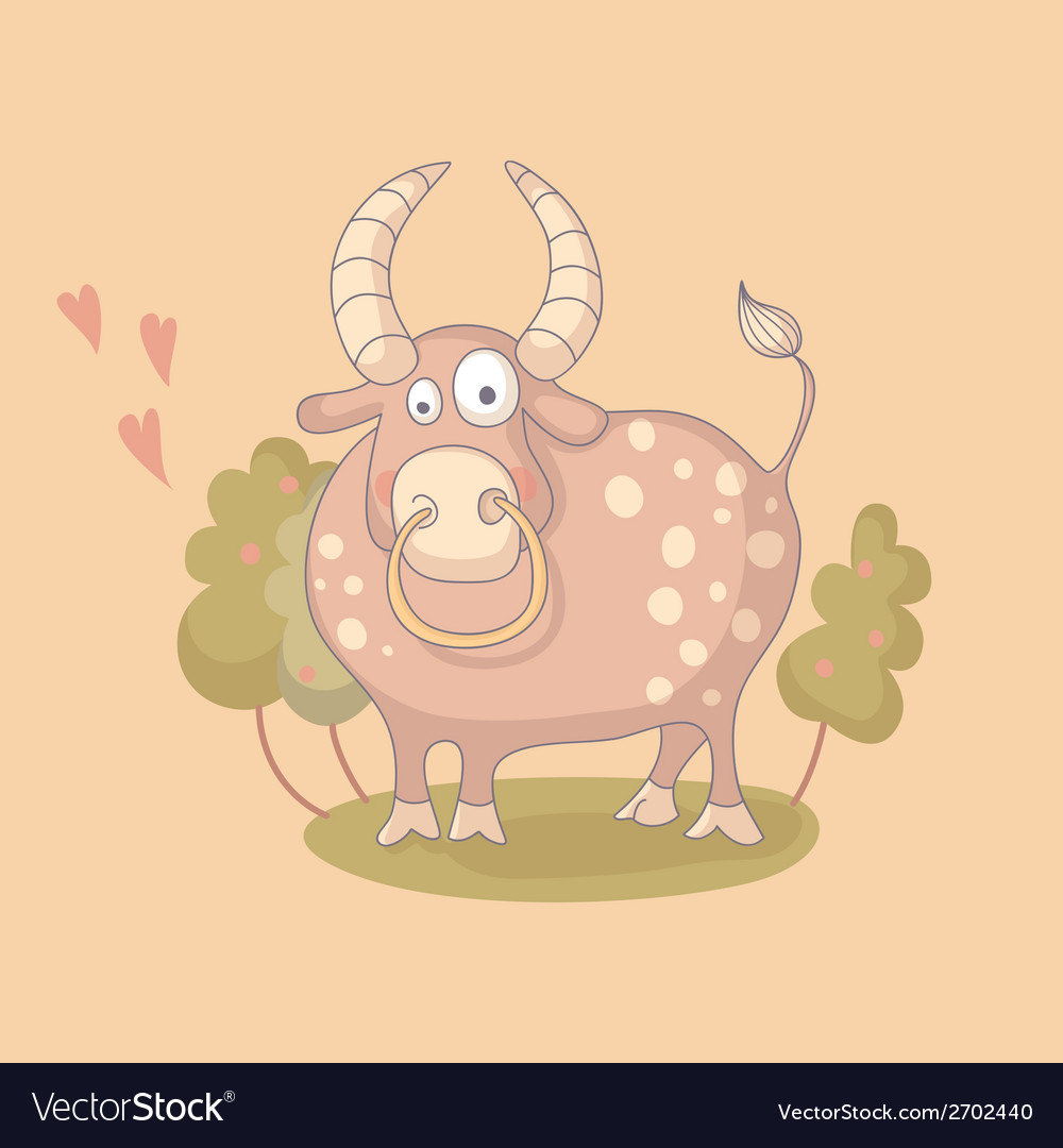Cartoon of the bull vector image