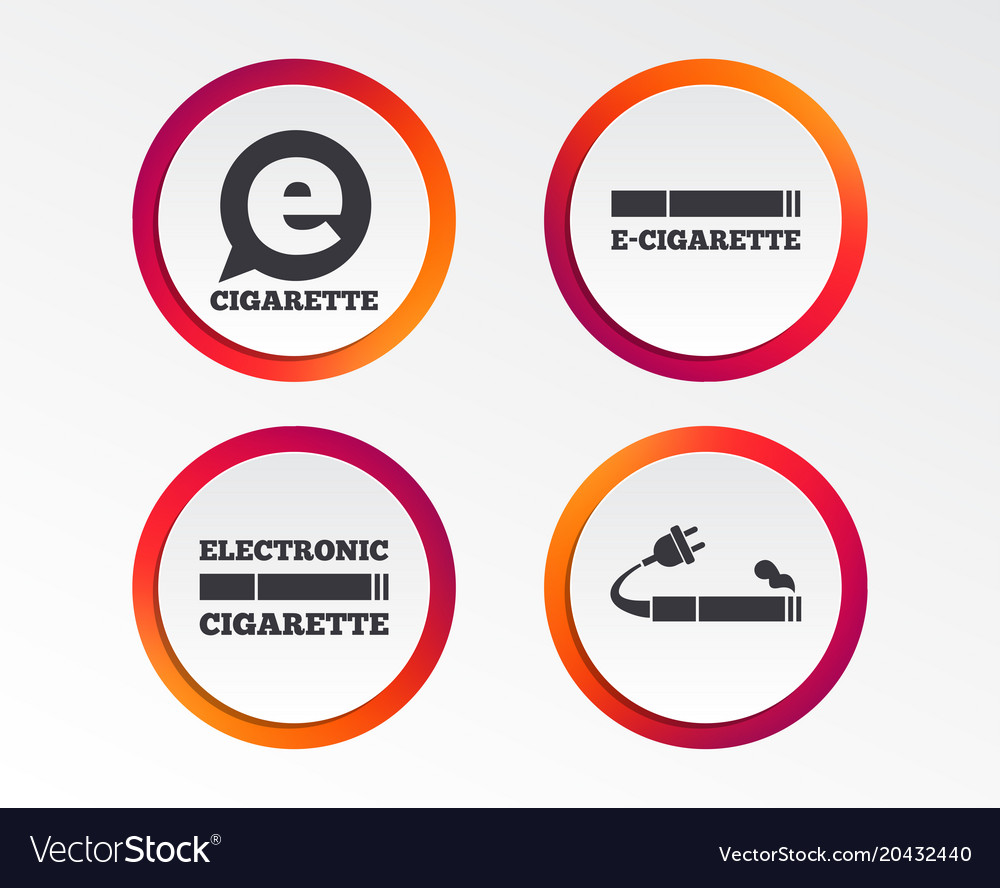 e cigarette signs electronic smoking icons vector image