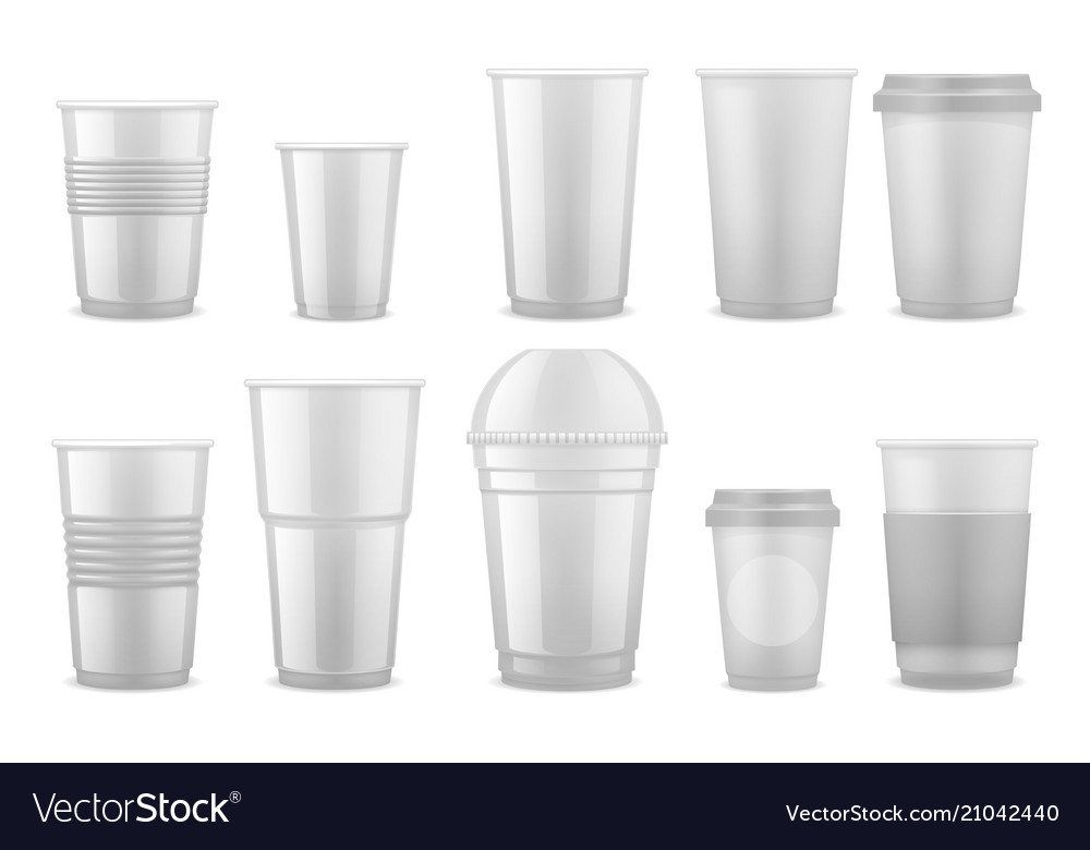 Empty Clear White Plastic Disposable Cups