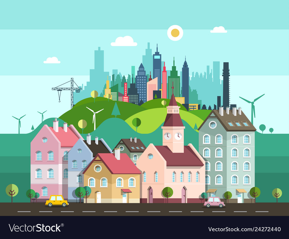 Flat design city with buildings cars on street