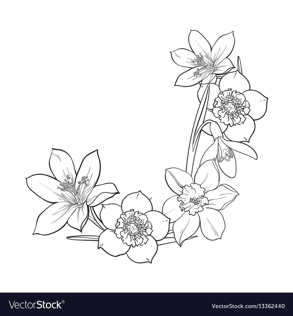 Half Frame Of Spring Flowers Decoration Element Vector Image