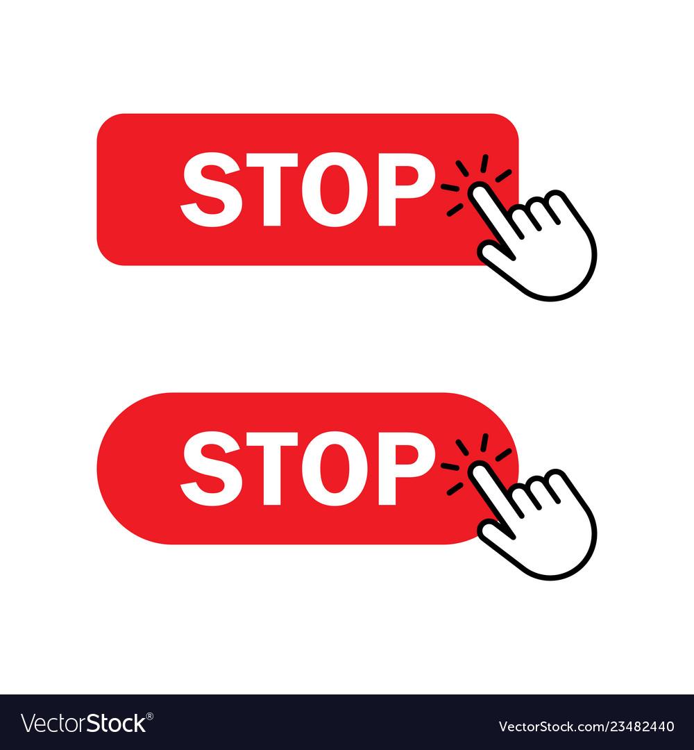 Hand cursor clicks stop button