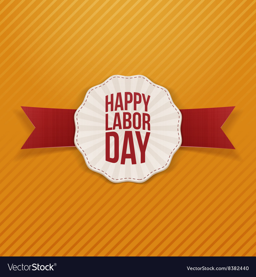 Happy Labor Day paper Banner with red Ribbon