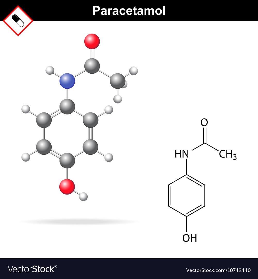 Paracetamol molecular structure vector image
