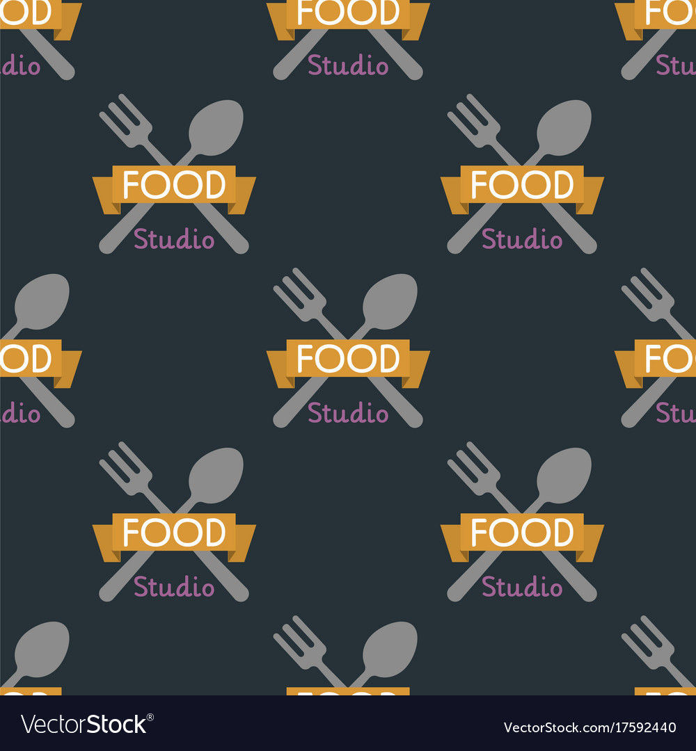 Spoon fork seamless pattern cooking badge
