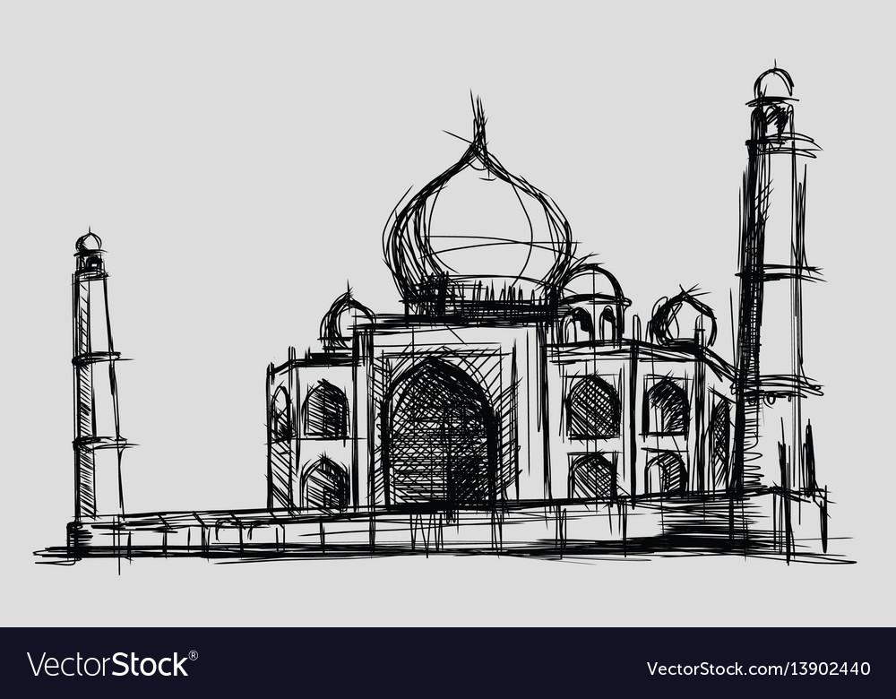 Taj mahal sketch drawing monument