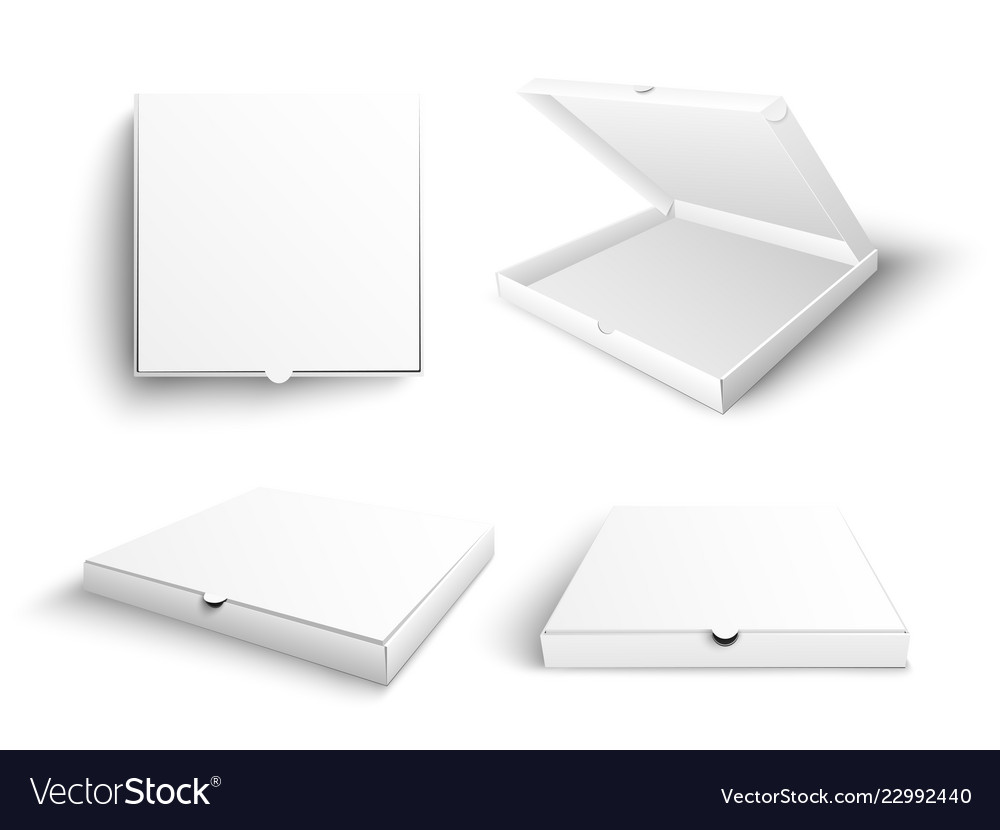 White blank pizza box mock up