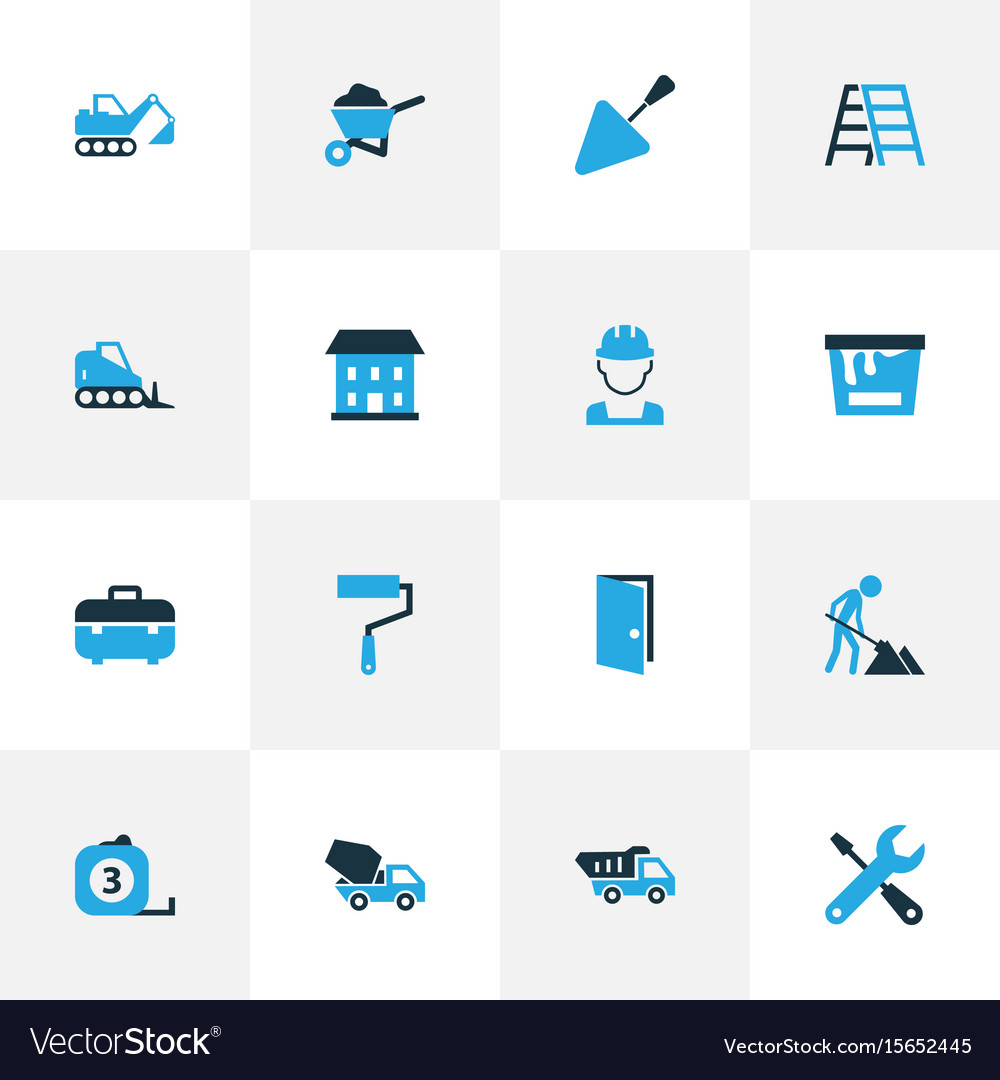 Building colorful icons set collection of case vector image