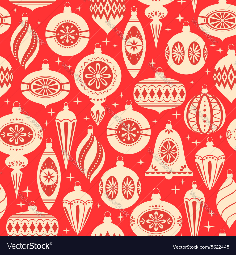 Christmas ornaments pattern vector image